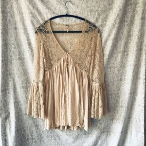Free People Cream Tunic with lace. NWOT